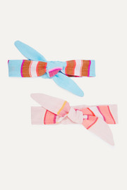 Eskedar bow-detailed striped cotton-blend gauze headband