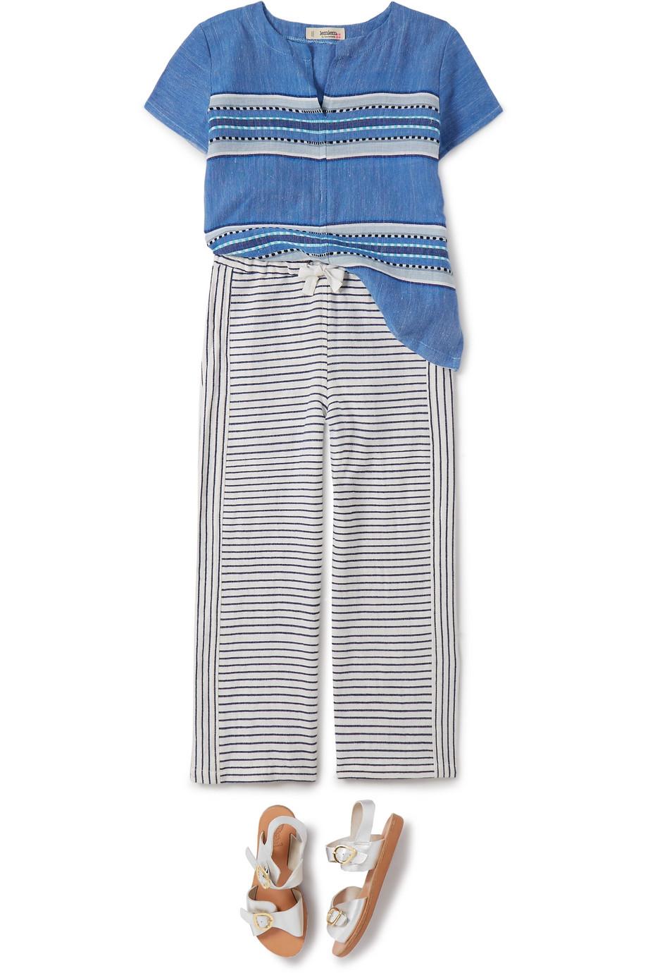 LemLem Kids Welela striped cotton-blend gauze top