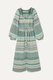Anna Mason Bardot belted striped cotton dress