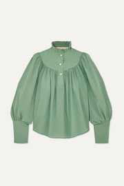 Anna Mason Kasia gathered Swiss-dot cotton blouse