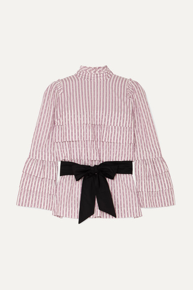 ANNA MASON | Anna Mason - Mademoiselle Belted Tiered Striped Fil Coupé Blouse - Lilac | Goxip