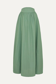 Anna Mason Tati gathered Swiss-dot cotton maxi skirt