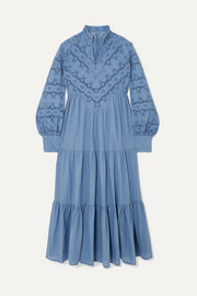 Anna Mason Kristina broderie anglaise and swiss-dot cotton midi dress