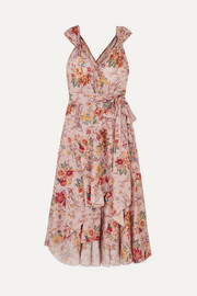 Anna Mason Stella ruffled floral-print cotton wrap dress