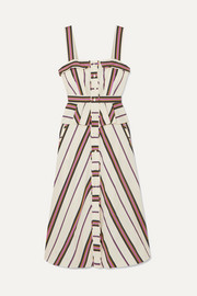 Anna Mason Olivia striped cotton-blend twill peplum dress