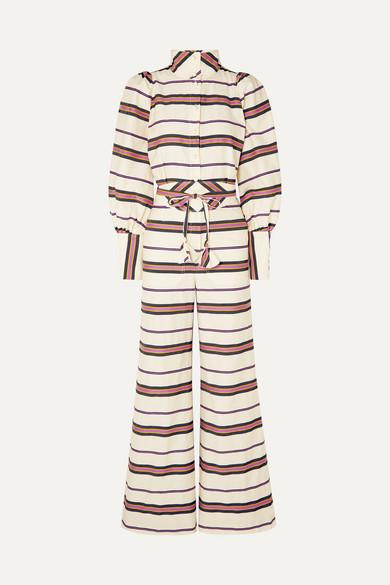 ANNA MASON | Anna Mason - Jane Striped Cotton-Blend Twill Jumpsuit - Ivory | Goxip