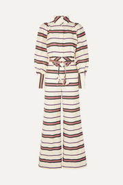 Anna Mason Jane striped cotton-blend twill jumpsuit
