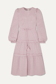 Anna Mason Christy striped Swiss-dot gauze dress