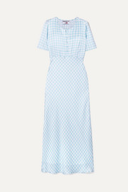 Florence gingham silk-satin midi dress