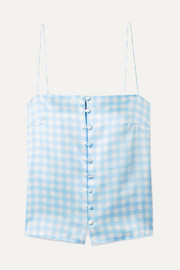 Florence gingham silk-satin camisole