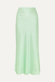 Florence gingham silk-satin midi skirt