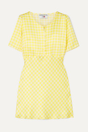 BERNADETTE Florence gingham silk-satin mini dress