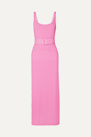 Monica belted gingham stretch-jersey midi dress
