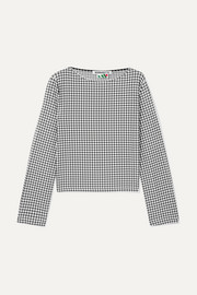 Monica gingham stretch-jersey top