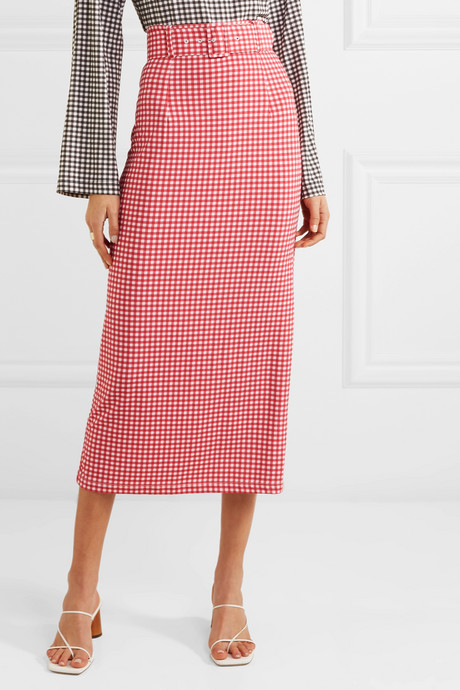Monica belted gingham stretch-jersey midi skirt