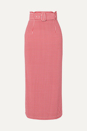 BERNADETTE Monica belted gingham stretch-jersey midi skirt