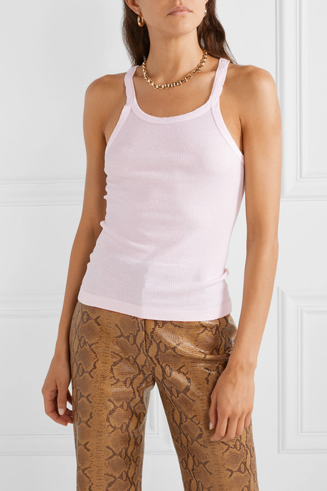 Ribbed cotton-jersey tank
