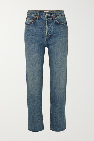 RE/DONE | RE/DONE - Originals Stovepipe High-Rise Straight-Leg Jeans - Mid Denim | Goxip