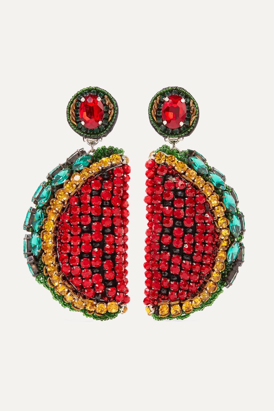 Ranjana Khan Le Melon silver-tone, leather, crystal and bead clip earrings