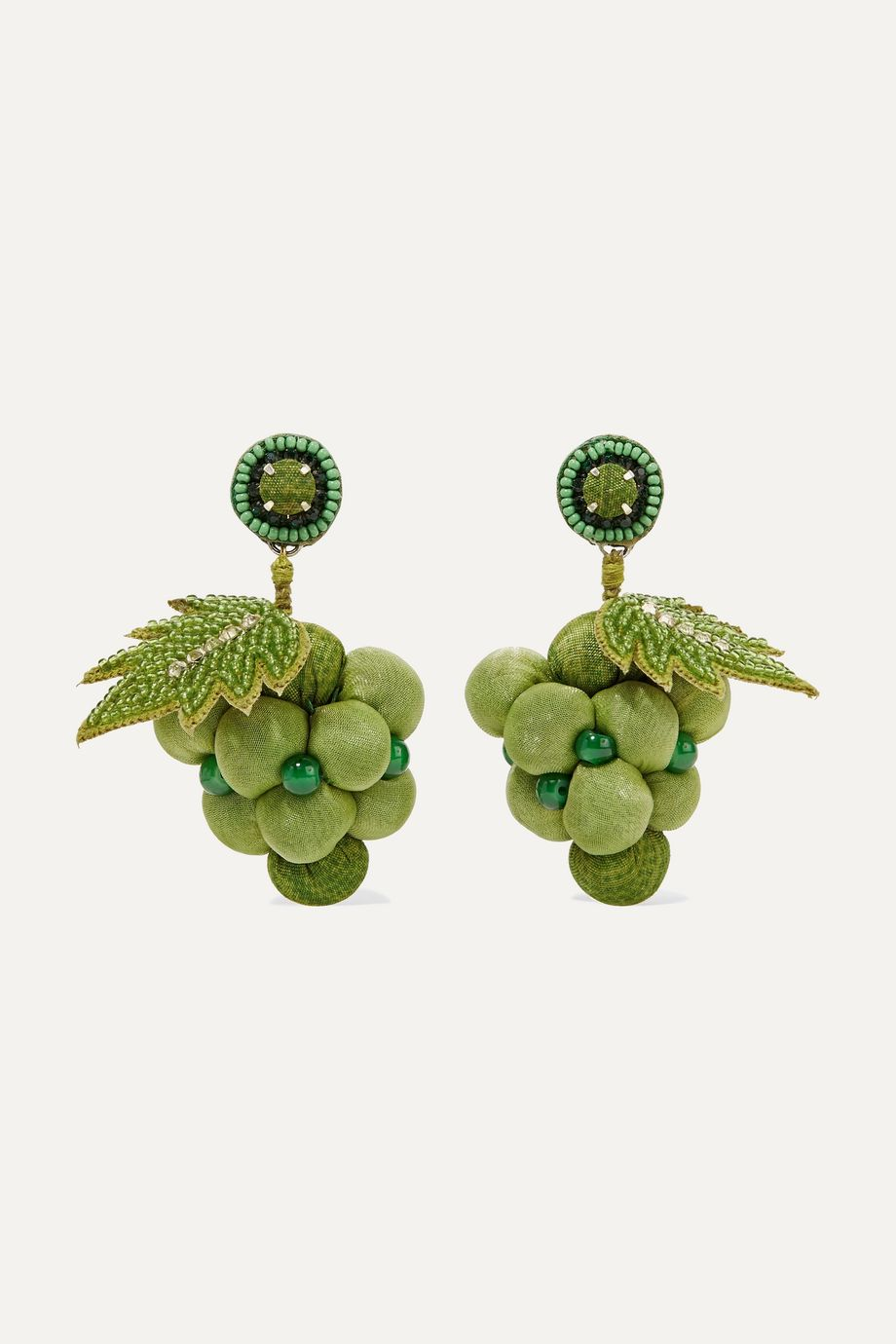 Ranjana Khan Silver-tone, cotton, bead and crystal earrings