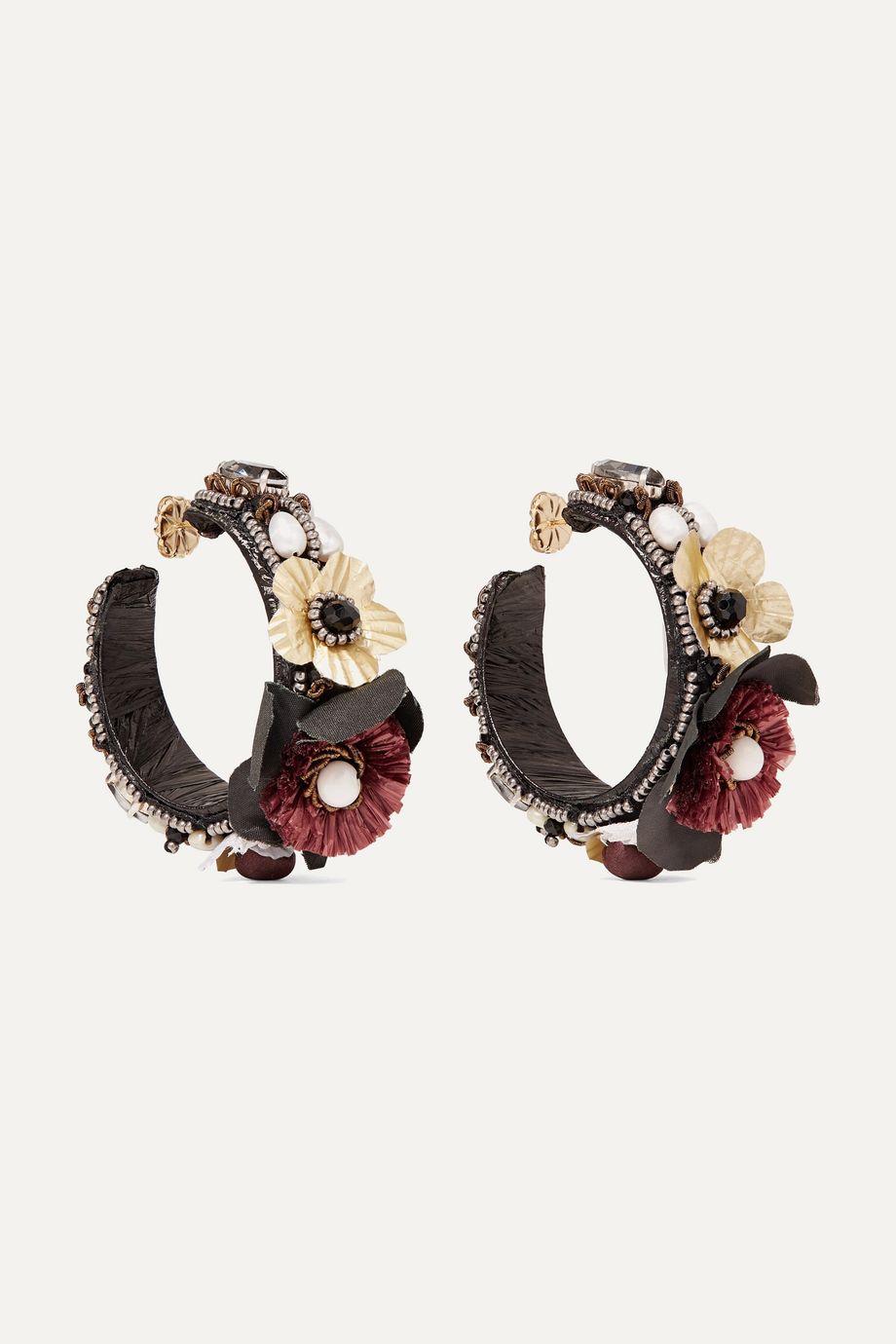 Ranjana Khan Gold-tone, canvas, silk and raffia multi-stone hoop earrings