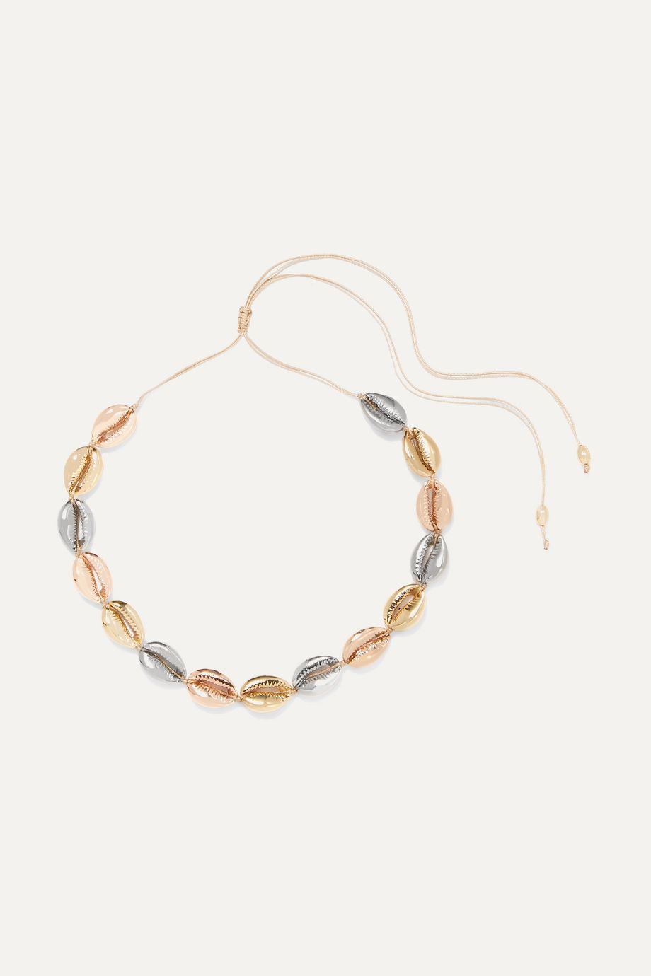 Tohum Large Puka yellow and rose gold and silver-plated necklace
