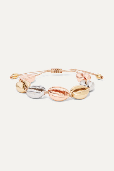 Large Puka Yellow And Rose Gold And Silver Plated Bracelet by Tohum
