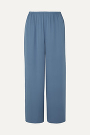 Cropped silk-crepe straight-leg pants