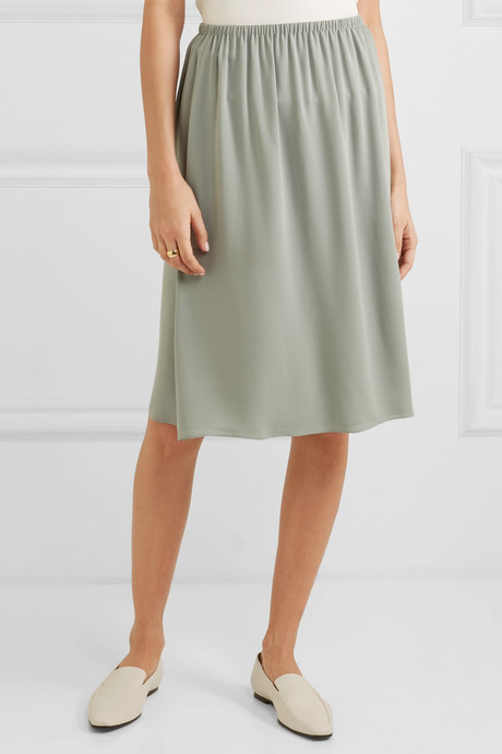 Silk-crepe skirt