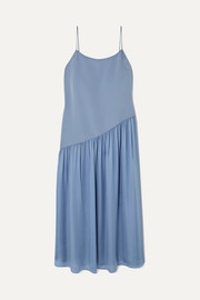 Pleated crepe and georgette midi dress