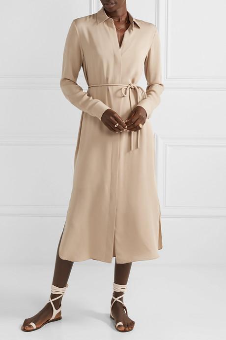Belted silk crepe de chine dress