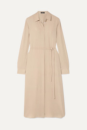 Theory Belted silk crepe de chine dress