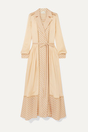 Ami embroidered tulle-trimmed striped silk-poplin dress