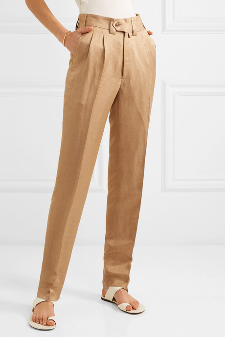 Sabi linen-blend twill slim-leg pants