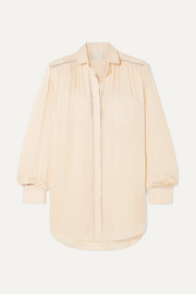 ARJÉ Celia crochet-trimmed silk and linen shirt