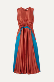 Keeva gathered two-tone silk-satin midi dress