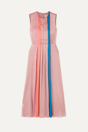 Pleated color-block silk-satin midi dress