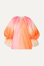 Nyra gathered crinkled-taffeta top
