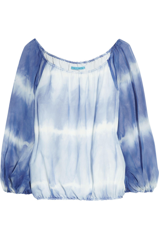 Bright Blue Alta Tie Dye Silk Chiffon Off The Shoulder Blouse Alice Olivia Net A Porter