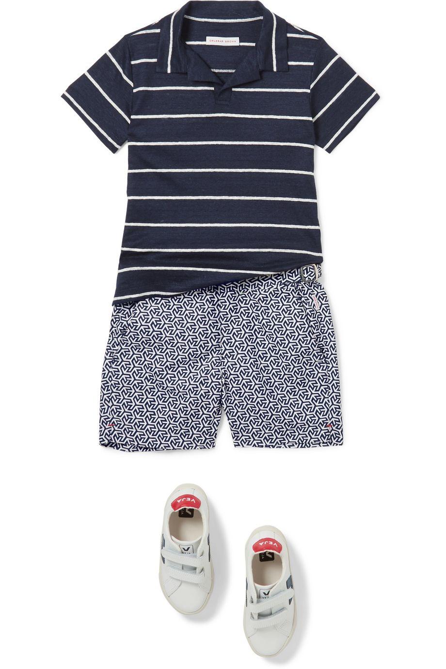 Orlebar Brown Kids Freddy striped linen-jersey polo shirt
