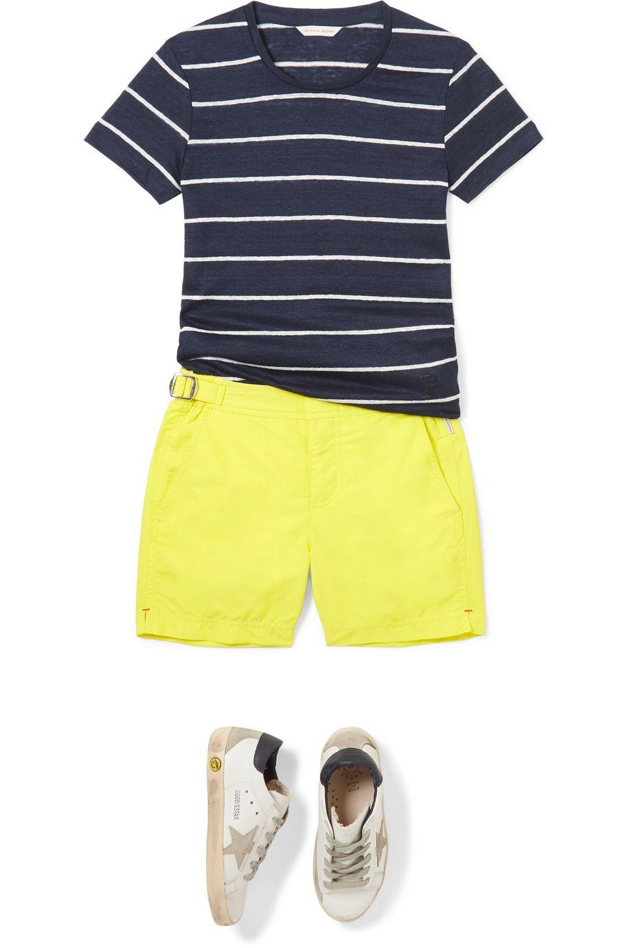 Orlebar Brown Kids Jimmy striped linen-jersey T-shirt
