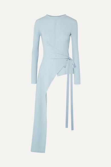 ROSETTA GETTY | Rosetta Getty - Draped Asymmetric Stretch-Cotton Jersey Wrap Top - Sky Blue | Goxip