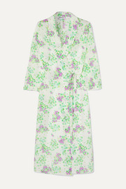 Elle floral-print silk crepe de chine wrap midi dress