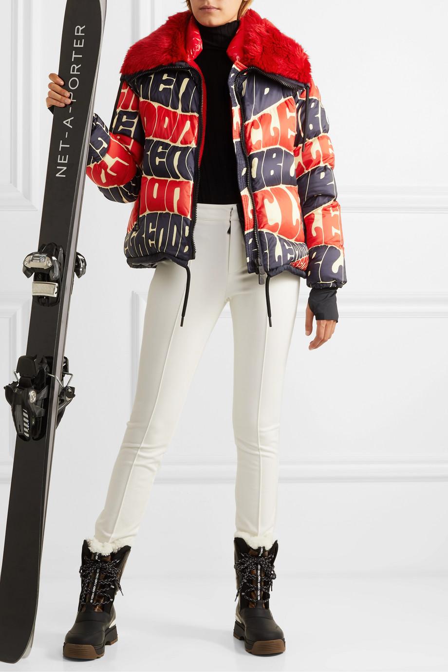 Moncler Grenoble Plaret faux fur-trimmed printed down ski jacket