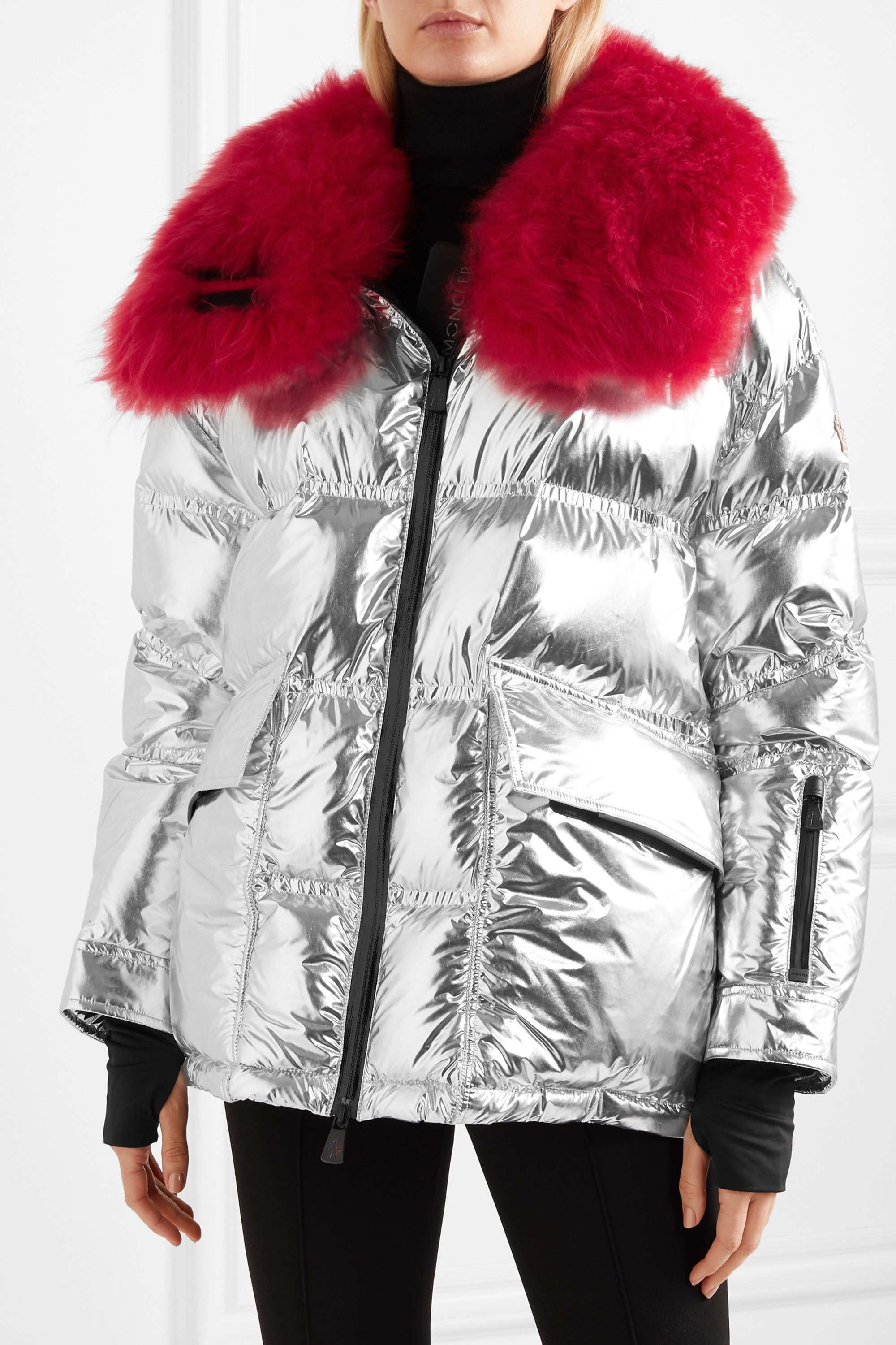 Moncler Grenoble Shearling-trimmed metallic quilted down ski jacket