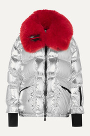 Shearling-trimmed metallic quilted down ski jacket