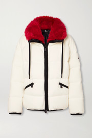 Moncler Grenoble Oversized faux fur-trimmed quilted fleece down ski jacket