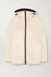 Oversized hooded shell-trimmed faux shearling jacket