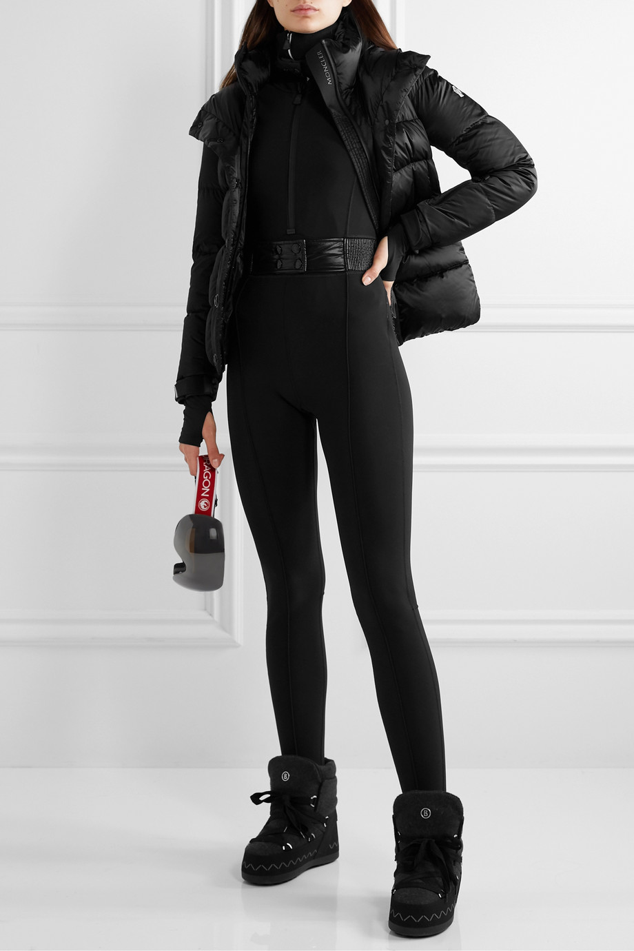Moncler Grenoble Belted stirrup stretch ski suit