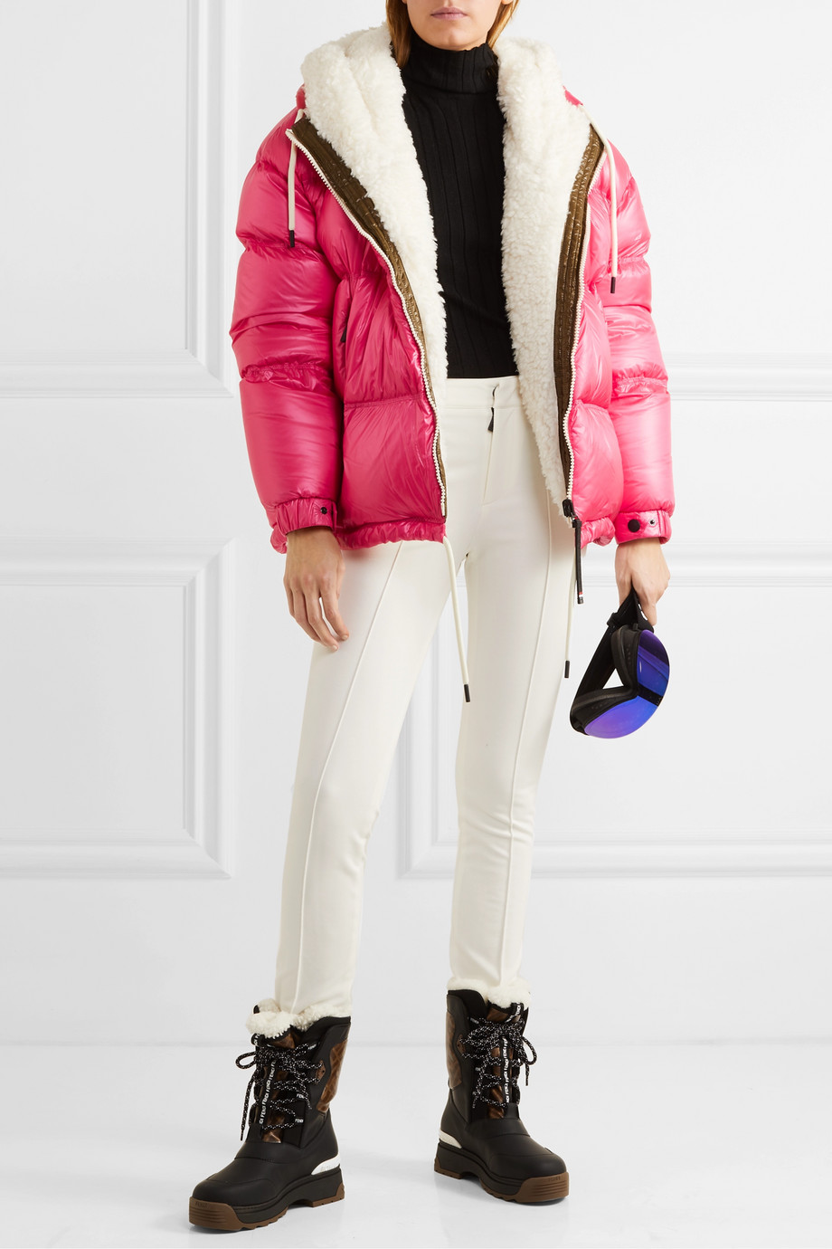 Moncler Grenoble Hufi reversible faux shearling-trimmed quilted down ski jacket